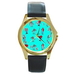 Hotline Bling Blue Background Round Gold Metal Watch