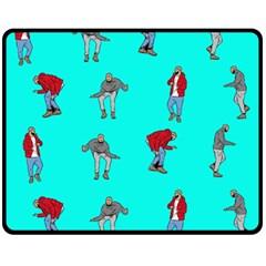 Hotline Bling Blue Background Double Sided Fleece Blanket (Medium)