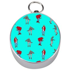 Hotline Bling Blue Background Silver Compasses