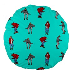 Hotline Bling Blue Background Large 18  Premium Flano Round Cushions