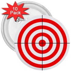Sniper Focus Target Round Red 3  Buttons (10 Pack)