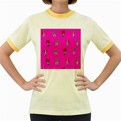 Hotline Bling Pink Background Women s Fitted Ringer T Shirts