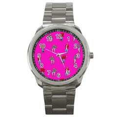 Hotline Bling Pink Background Sport Metal Watch