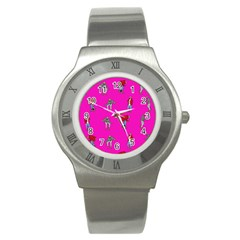 Hotline Bling Pink Background Stainless Steel Watch