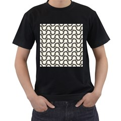 Shutterstock Wave Chevron Grey Men s T-Shirt (Black) (Two Sided)