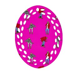Hotline Bling Pink Background Ornament (Oval Filigree)