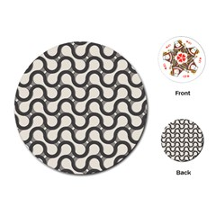 Shutterstock Wave Chevron Grey Playing Cards (Round)