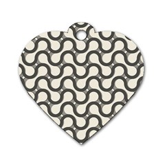 Shutterstock Wave Chevron Grey Dog Tag Heart (One Side)