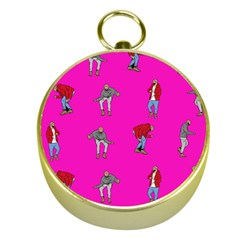Hotline Bling Pink Background Gold Compasses