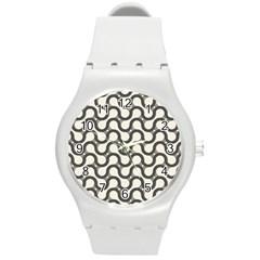 Shutterstock Wave Chevron Grey Round Plastic Sport Watch (M)