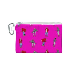 Hotline Bling Pink Background Canvas Cosmetic Bag (S)