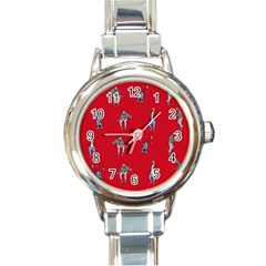 Hotline Bling Red Background Round Italian Charm Watch