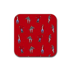 Hotline Bling Red Background Rubber Square Coaster (4 pack)