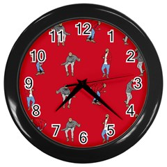 Hotline Bling Red Background Wall Clocks (black)