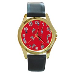 Hotline Bling Red Background Round Gold Metal Watch