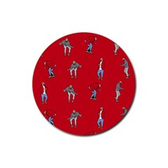 Hotline Bling Red Background Rubber Round Coaster (4 pack)