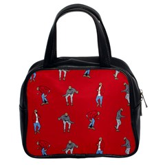 Hotline Bling Red Background Classic Handbags (2 Sides)