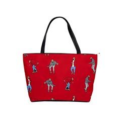 Hotline Bling Red Background Shoulder Handbags