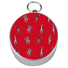 Hotline Bling Red Background Silver Compasses