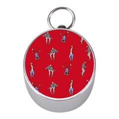 Hotline Bling Red Background Mini Silver Compasses
