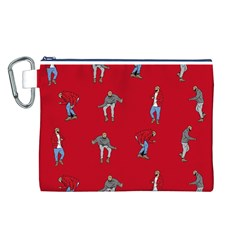 Hotline Bling Red Background Canvas Cosmetic Bag (L)