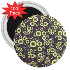 Ring Circle Plaid Green Pink Blue 3  Magnets (100 pack)