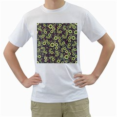 Ring Circle Plaid Green Pink Blue Men s T Shirt (white) (two Sided)