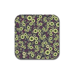 Ring Circle Plaid Green Pink Blue Rubber Coaster (square)