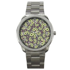 Ring Circle Plaid Green Pink Blue Sport Metal Watch