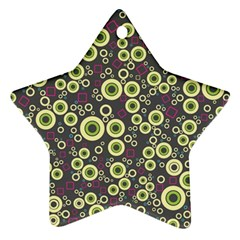 Ring Circle Plaid Green Pink Blue Star Ornament (Two Sides)