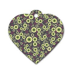 Ring Circle Plaid Green Pink Blue Dog Tag Heart (One Side)