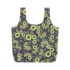 Ring Circle Plaid Green Pink Blue Full Print Recycle Bags (M)