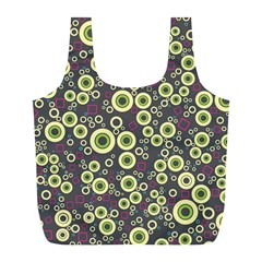 Ring Circle Plaid Green Pink Blue Full Print Recycle Bags (L)