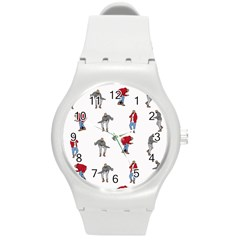 Hotline Bling White Background Round Plastic Sport Watch (M)