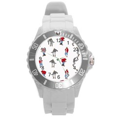 Hotline Bling White Background Round Plastic Sport Watch (L)
