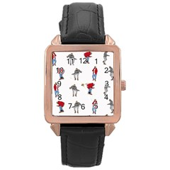 Hotline Bling White Background Rose Gold Leather Watch