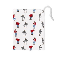 Hotline Bling White Background Drawstring Pouches (Large)