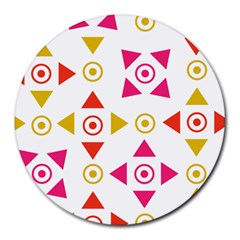 Spectrum Styles Pink Nyellow Orange Gold Round Mousepads