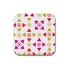 Spectrum Styles Pink Nyellow Orange Gold Rubber Square Coaster (4 Pack)