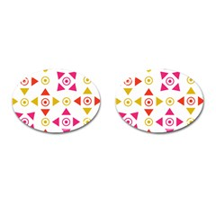 Spectrum Styles Pink Nyellow Orange Gold Cufflinks (oval)