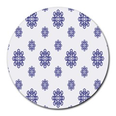 Snow Blue White Cool Round Mousepads