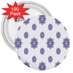 Snow Blue White Cool 3  Buttons (100 pack)