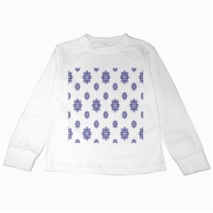 Snow Blue White Cool Kids Long Sleeve T Shirts
