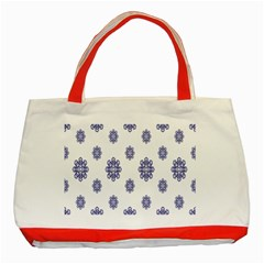 Snow Blue White Cool Classic Tote Bag (Red)