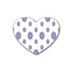 Snow Blue White Cool Rubber Coaster (Heart)