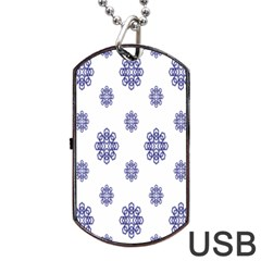 Snow Blue White Cool Dog Tag USB Flash (One Side)