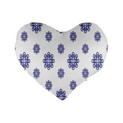 Snow Blue White Cool Standard 16  Premium Heart Shape Cushions