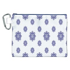 Snow Blue White Cool Canvas Cosmetic Bag (XXL)