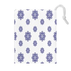 Snow Blue White Cool Drawstring Pouches (Extra Large)