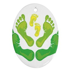 Soles Feet Green Yellow Family Ornament (Oval)